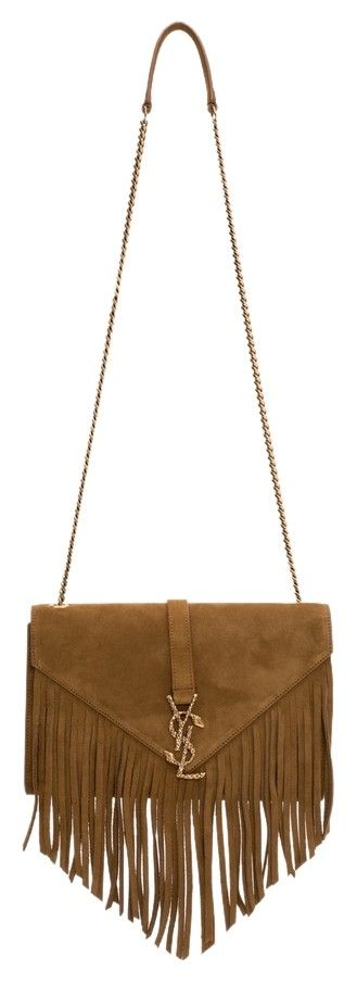 ysl purse for sale - Ysl Monogram Medium Serpent Suede Leather Fringe Chain Brown Cross ...
