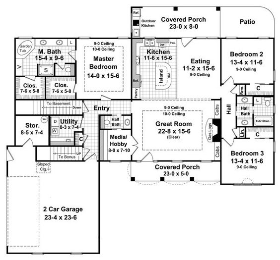 Country ranch traditional house plan 59137 house plans for Ranch floor plans with bonus room
