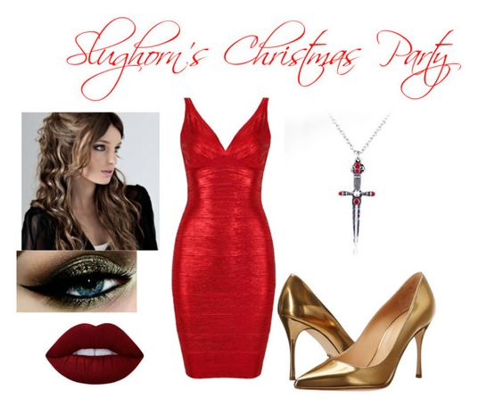 """#Gryffindor: Slughorn's Christmas Party"" by turqoiseninja ❤ liked on Polyvore featuring Sergio Rossi and Lime Crime"
