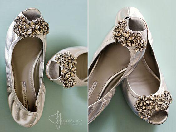 Vera Wang Lavender Silver Jeweled Wedding Flats
