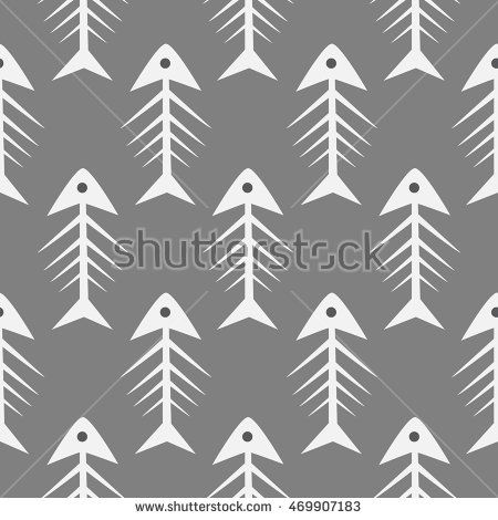 Fishbone monochrome seamless vector pattern. Grey and white fish bone textile… #pattern
