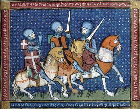 Three Knights on horseback, Illuminated Manuscript
