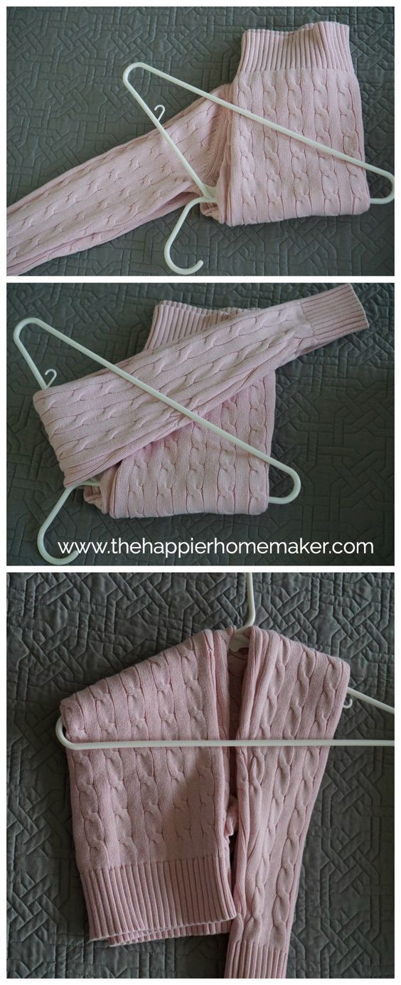 How to Hang a Sweater without stretching out the shoulders.  I love this tip-I like to keep my sweater hanging so my closet is more organized and I can see my options when picking out clothes!: