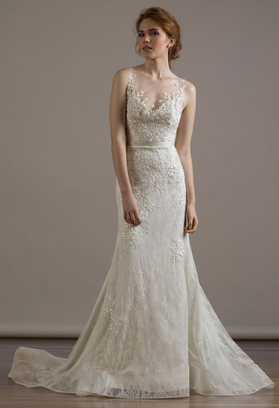 Illusion Neckline Mermaid Wedding Dress | Liancarlo Fall 2015 Wedding Dresses | blog.theknot.com