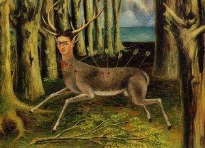 """El Venadito o El venado herido o Soy un pobre venadito""1946: Wounded Deer, Kahlo 1946, Kahlo Painting, Deer 1946, Oil Painting, Frida Khalo, Frida Kahlo"