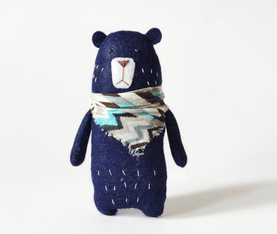 dont be so glum errol I'll find you a friend here with my followers on don't be so plushie , they love a contemporary design toy of melancholy hugs like you Felt Bear With A Scarf Felted Miniature Animals Felt by Amuru