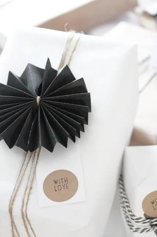 Wrapping - black and white - paper medallions