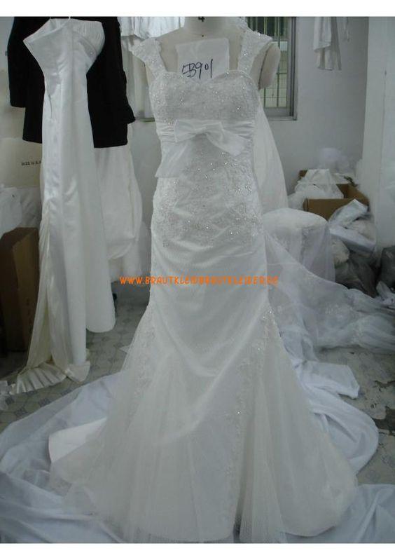 Schöne Bodenlang Schlichtes Brautkleid 2013 aus Satin mit Applikation