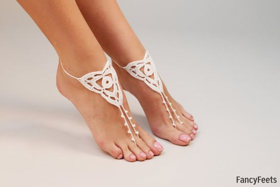 Crochet White Barefoot Sandals Foot jewelry by FancyyFeets on Etsy