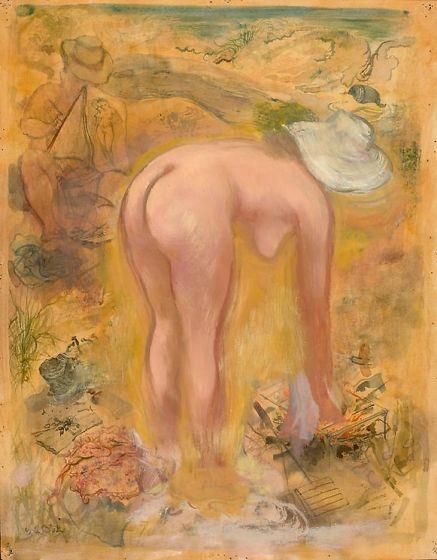George Grosz - Künstler und Modell in den Dünen (1940)