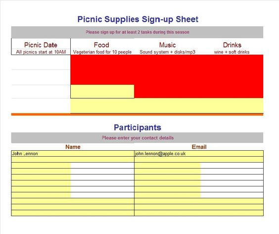 SignUp Sheet Template   Event    Templates And Signs