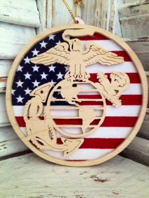 Marine Corps ornaments with flag back ground. Great Christmas tree ornament or gift box topper to tie on the bow.