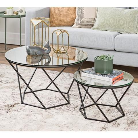 Geometric Glass Round 2 Piece Modern Coffee Table Set 24w39