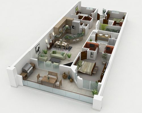 big apartment 3D House Plans Floor Plans Pinterest Apartments