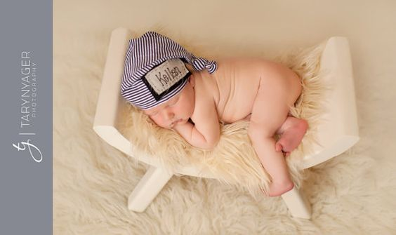 Newborn personalized hat hand embroidered with name by KnoxKnots