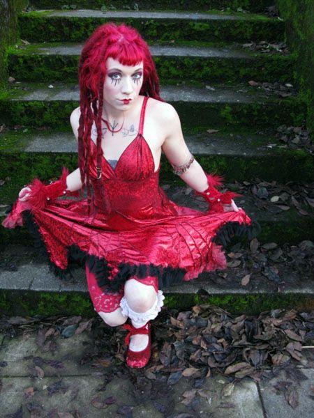 Ruby Red glittery Franken Stiches Dress