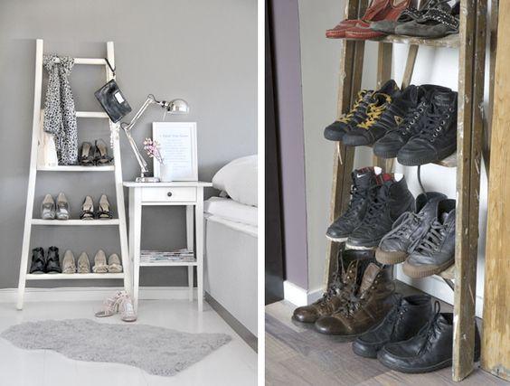 organizando sapatos: