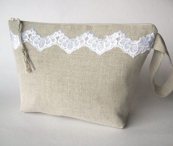 Knitting bag, crochet bag, yarn holder, linen project bag, crochet