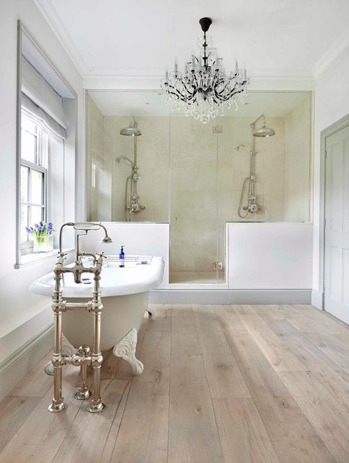 Wooden floor in bathroom