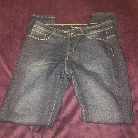 Dark Wash Skinny Jeans Diamanté skinny jeans. Juniors size 13. Worn twice. In great condition. Jeans Skinny
