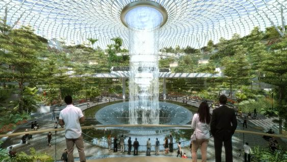 Singapore New Changi Airport Indoor Waterfall Forest Indoor