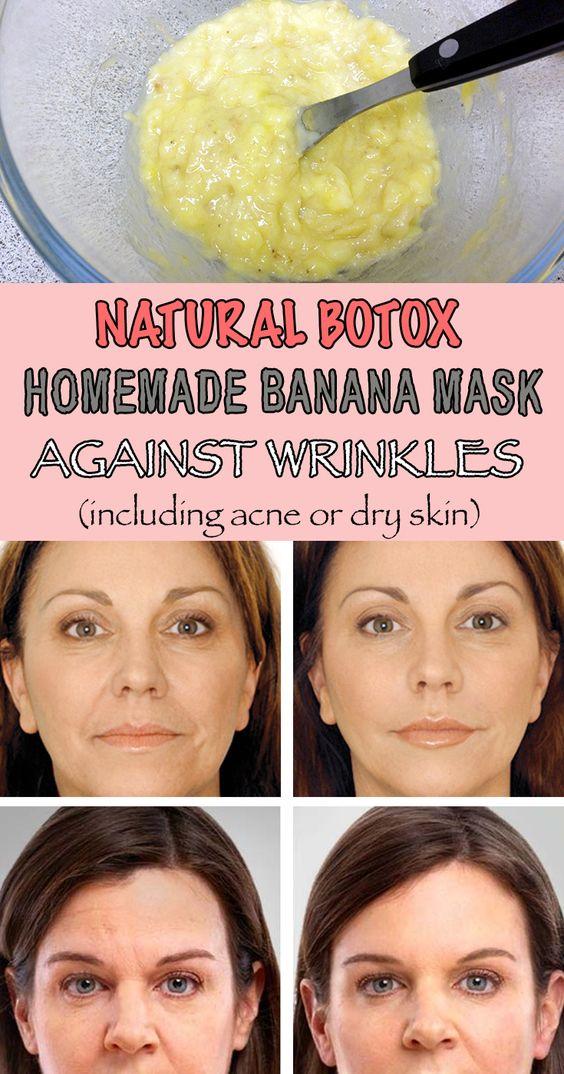 Natural botox: Homemade banana mask against wrinkles (including acne or dry…