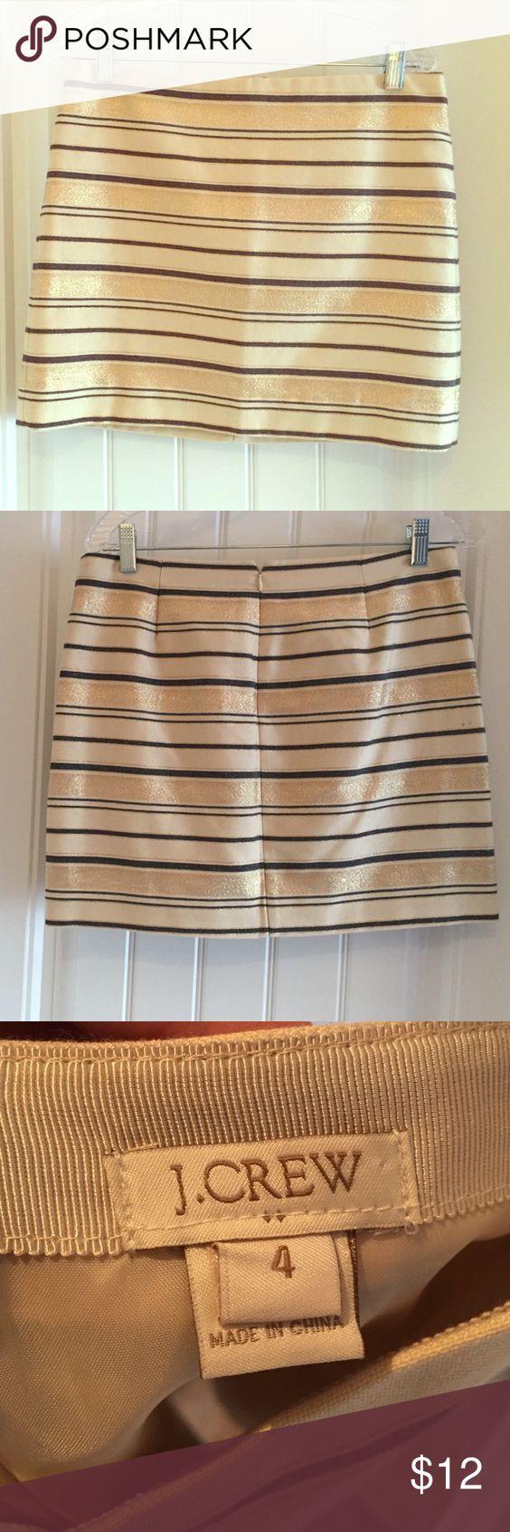 Gold striped skirt from J. Crew | D, Cream skirt and Cream