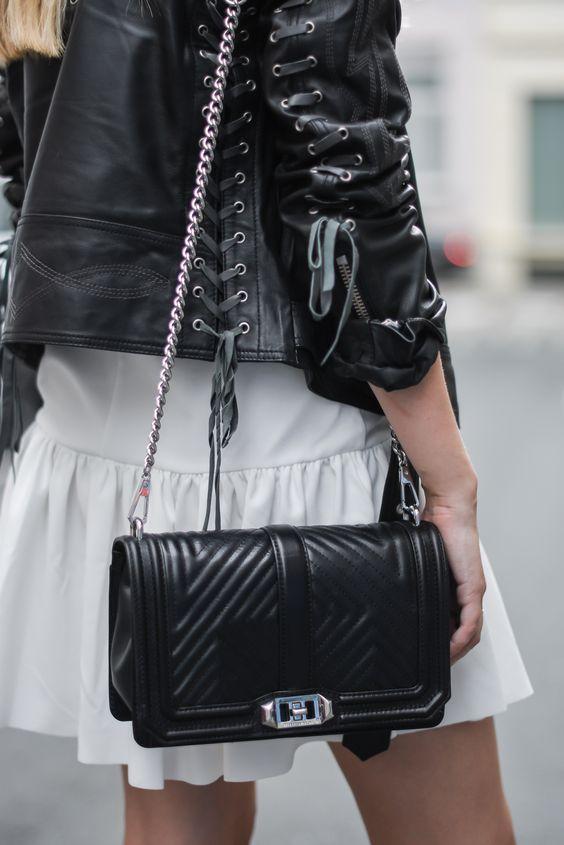 Leather jacket Asos // White dress Asos // Rebecca Minkoff bag // Morobe boots