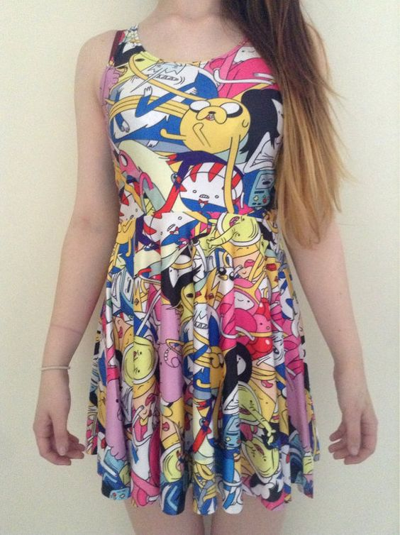 Adventure time characters multicoloured dress quirky alternative cartoon network clothing on Etsy, $21.53