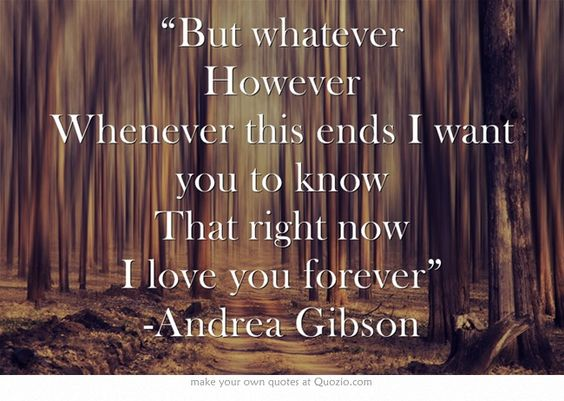 """""""But whatever However Whenever this ends I want you to know That right now I love you forever"""" -Andrea Gibson"""