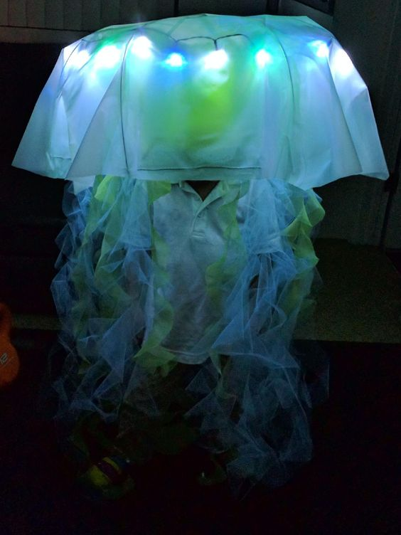 DIY jellyfish out of umbrella frame, heavy duty opaque plastic ...