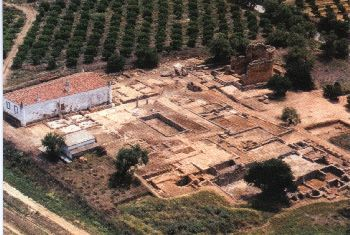 Vista aérea da Villa Romana de Milreu