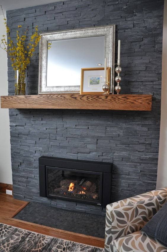 Fireplaces dark gray paint and love it on pinterest for Grey stone fireplace