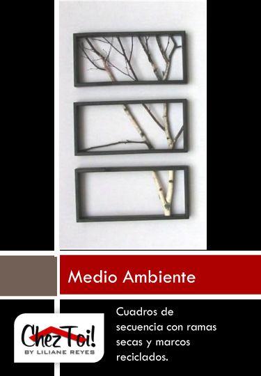Cuadros de secuencia con ramas secas y marcos reciclados - Marcos para cuadros ...