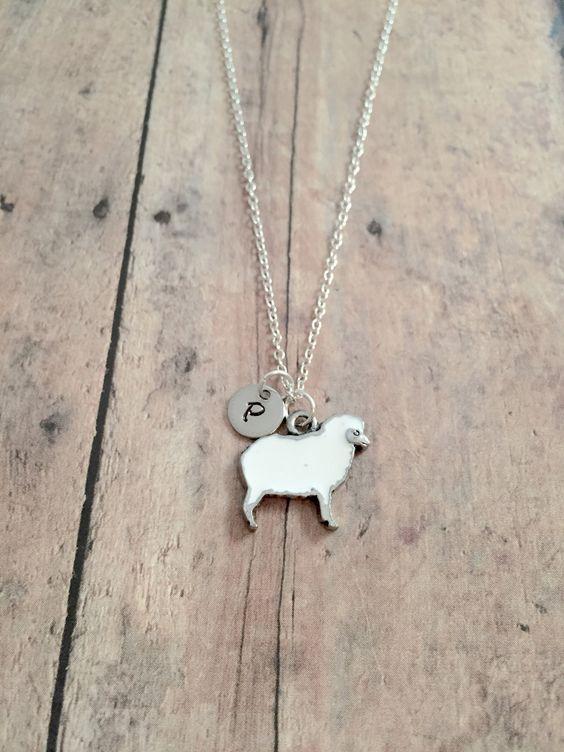 sheep gift lamb necklace Sheep initial necklace sheep necklace farm necklace sheep jewelry lamb jewelry farm animal jewelry