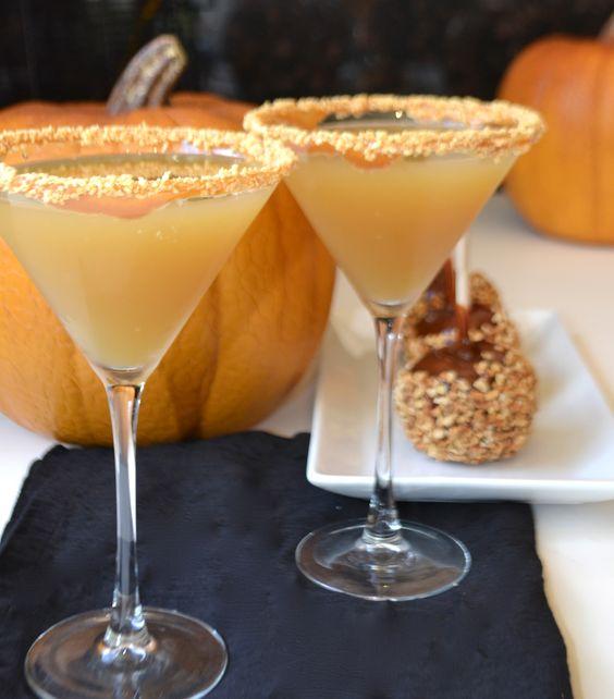Caramel Apple Martini: 1/4 cup salted peanuts  4 granny smith apples – peeled, cored, chopped  1 freshly squeezed lemon (2 tablespoons)     caramel syrup  8 ounces Premium Vodka  4 ounces Caramel Apple Liqueur (Hiram Walker)