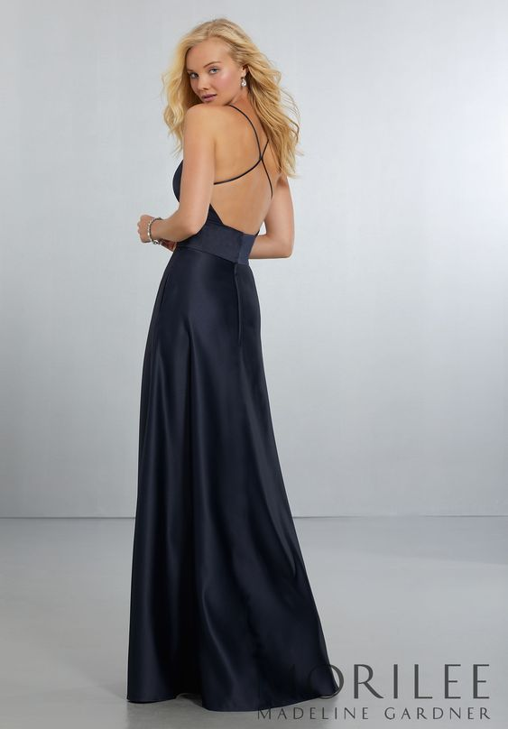 Morilee | Madeline Gardner, Sexy Satin Bridesmaids Dress with Deep V-Neckline and Strappy Back Style 51573 | Classic, V-Neck Satin A-Line Gown with Modern Strappy Back Detail and Zipper Back. Shown in Navy. Available in 37 colors.