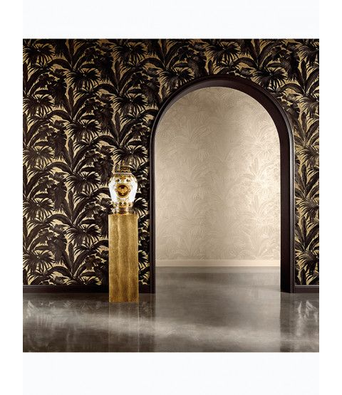 Versace Giungla Palm Leaves Wallpaper Black And Gold 10m X 70cm 96240 1 Leaf Wallpaper Palm Leaf Wallpaper Palm Leaf Design