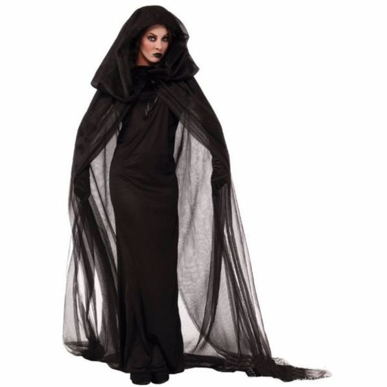 Aiming for a black scary witch look during Halloween, this is the perfect one. This features black long dress complete with sleeveless, round neckline, floored black hooded cape with ribbon closure an