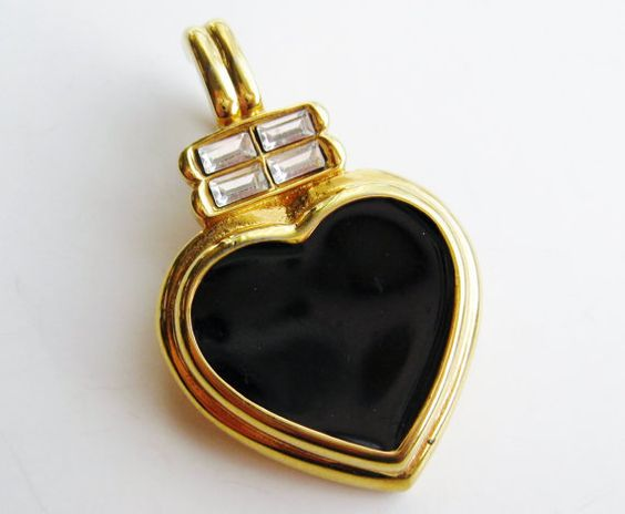 Vintage Kenneth Jay Lane Black Enamel Heart Gold Rhinestone Necklace Pendant
