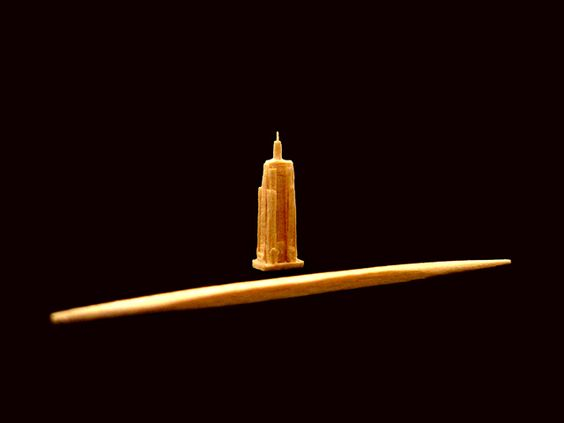 """Toothpick Sculpture, """"the Empire State Building"""" 