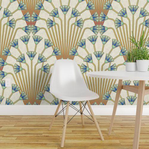 Papyrus Flowers Light Wallpaper Panels Removable Wallpaper Wallpaper Roll