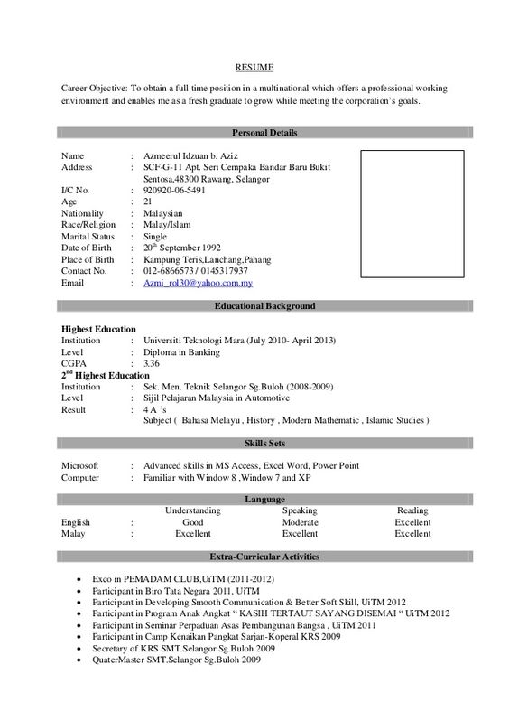 Sample Resume Format for Fresh Graduates - Two-Page Format 11 - full resume format