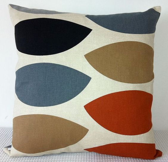 Cushion cover geometric retro burnt orange brown black