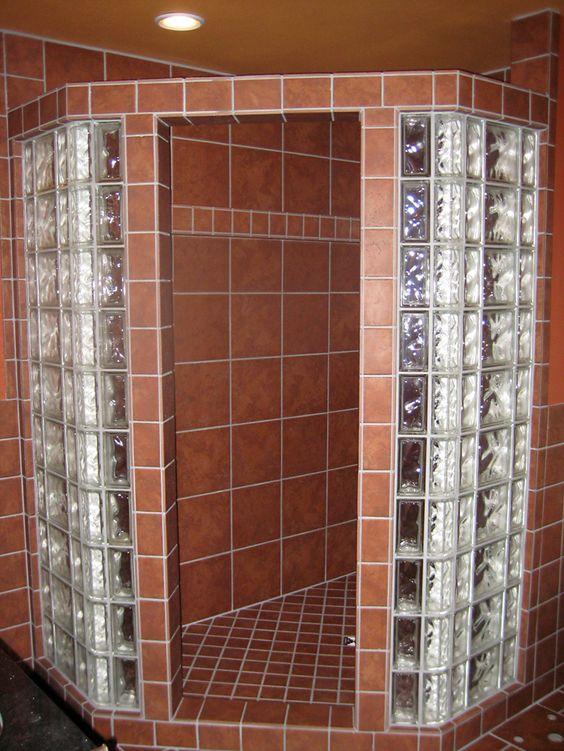 Glass block walls in bathrooms shower and tile floor for Glass block floor