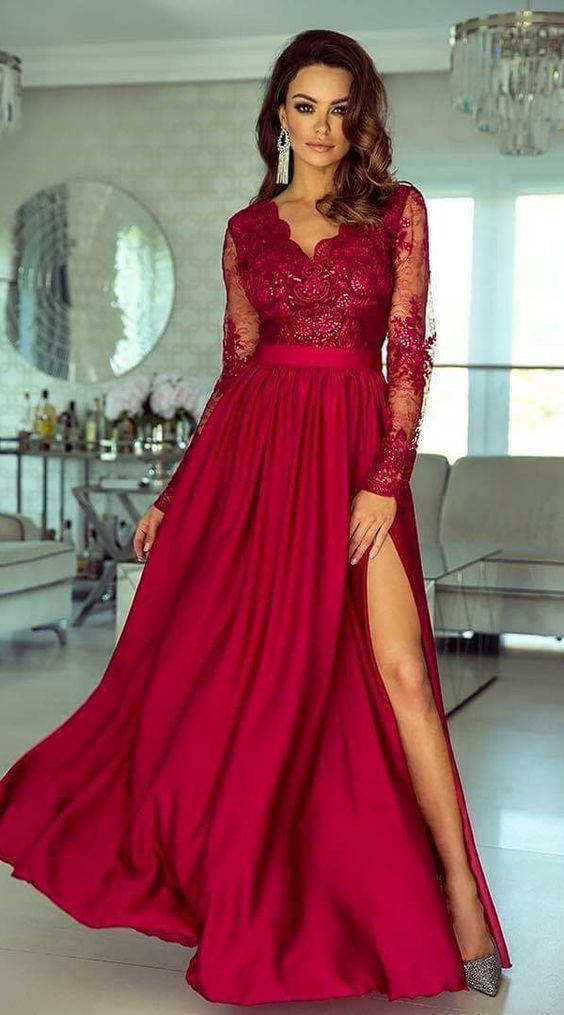 A Line V Neck Long Sleeves Floor Length Blush Prom Dress With Appliques By Prettylady 139 49 Usd Prom Dresses With Sleeves Red Lace Prom Dress Prom Dresses
