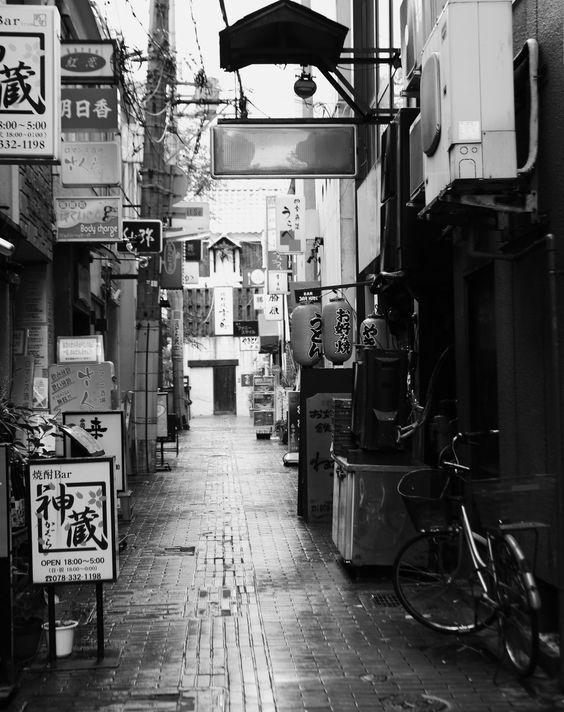 Deserted alley. Sannomiya, Kobe, Japan. 3oct14.