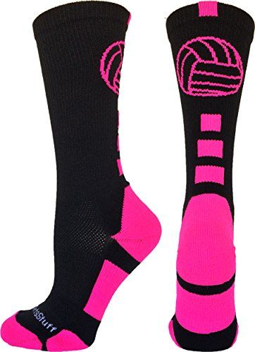 Volleyball Logo Crew Socks (Black/Electric Blue, Medium)