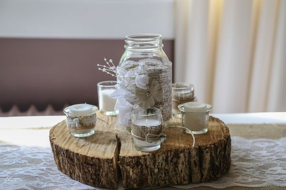 Wood and lace centerpieces