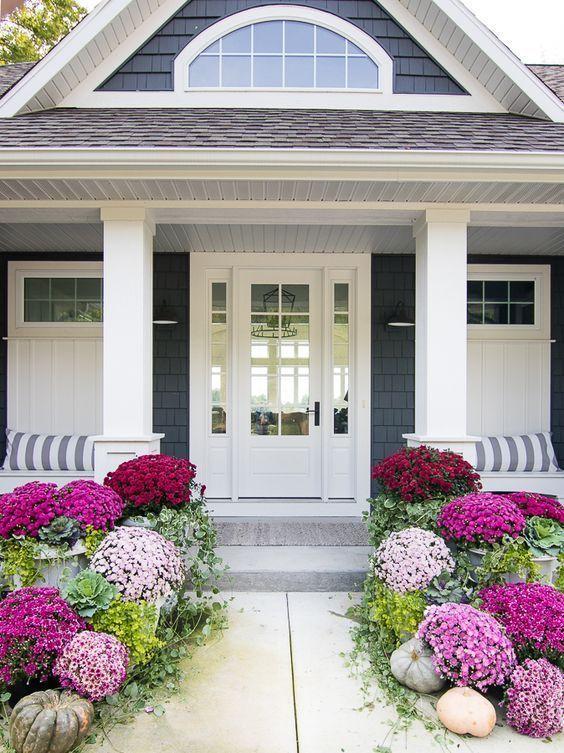 Fall Porch Decor 25 Fresh And Beautiful Ideas Jane At Home Porch Makeover Front Porch Makeover Front Porch Decorating
